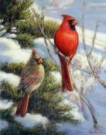 RED BIRD WINTER Signed Print_image